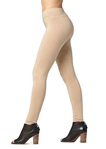 Premium Ultra Soft Stretch High Waisted Cotton Leggings for Women with Yoga Waistband - Full-Length Beige - Small