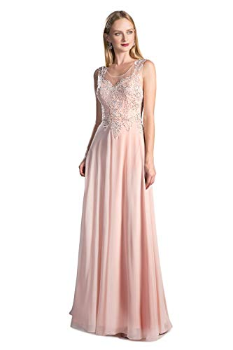 Cinderella Divine Women's A-line Chiffon and Lace Gown Peach-S