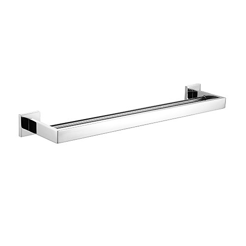 - Leyden Wall Mount Chrome Finish Stainless Steel Material 24 Inch Double Towel Bar Bathroom Accessory