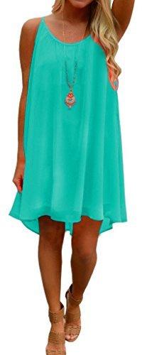 Women's Summer Spaghetti Strap Beach Dress Hollow Out Chiffon Short Mini Dresses