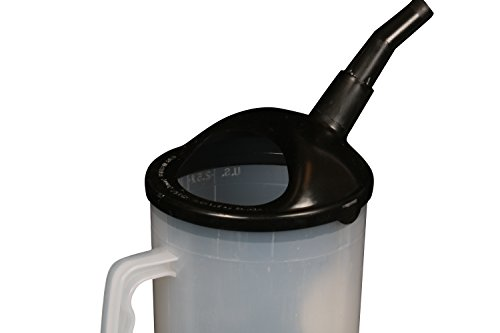 WirthCo 94026 Funnel King Heavy Duty Graduated Measuring Container with Black Spout - 87 oz. Capacity
