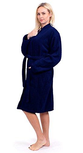 100 Cloths - Turkuoise Women's Terry Cloth Robe 100% Premium Turkish Cotton Terry Kimono Collar (Large/One Size, Navy)