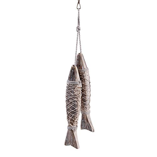 - ZALING 2 Pcs Mediterranean Style Rustic Coastal Hand Carved Hanging Wood Fish Ornaments Small