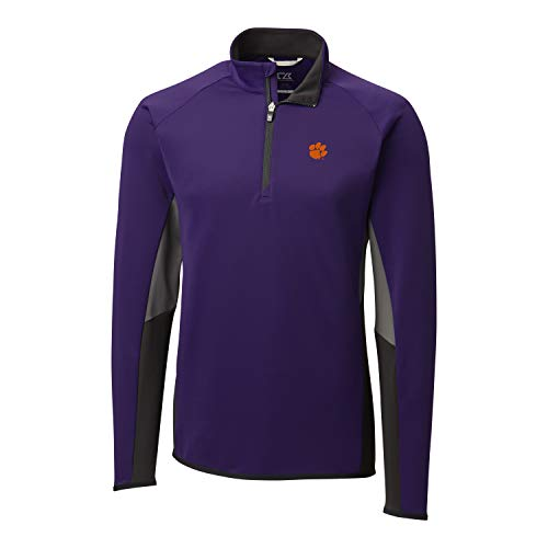 Cutter & Buck NCAA Clemson Tigers Mens Long Sleeve Traverse Colorblock Half Zip, College Purple, Small