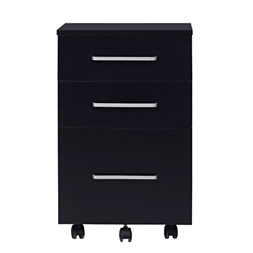 DEVAISE 3 Drawer Lateral Wood Mobile Filing Cabinet, Letter size, Black Drawer Letter Black File Cabinets