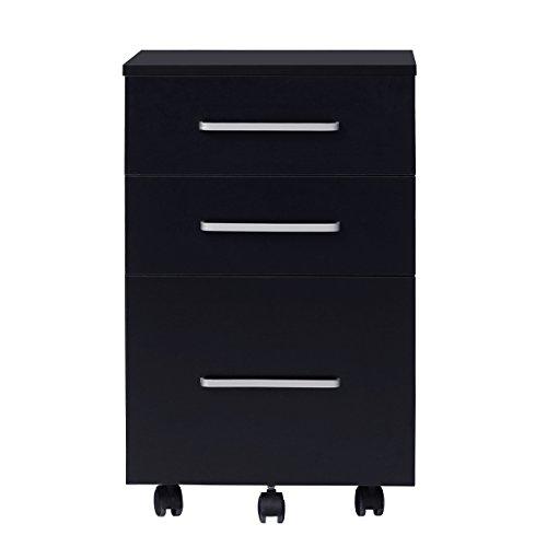 Pedestal Lateral File Cabinet (DEVAISE 3 Drawer Lateral Wood Mobile Filing Cabinet, Letter size, Black)