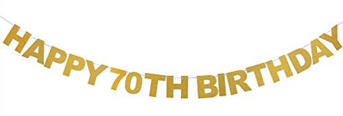 INNORU Happy 70th Birthday Banner Gold Glitter Letters