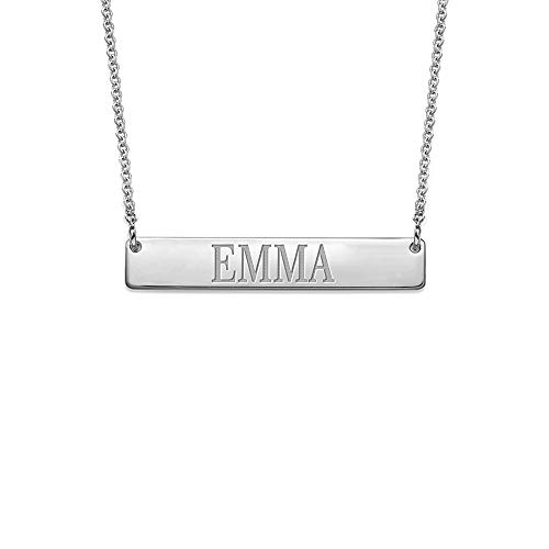 Bar Necklace Engraved in Sterling Silver Personalized Name Necklace in All Capitol Letters - Custom ()