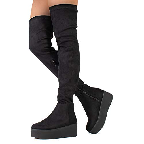 Women's Narrow Calf Fit High Platform Side Zip Opening Over The Knee Boots Black (8.5) ()