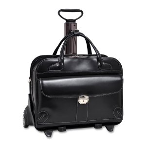 McKlein Lakewood Checkpoint Friendly 15.4'' Rolling Laptop Bag Black by McKleinUSA