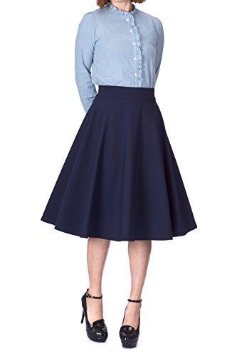 Feminine Stretch High Waist Flared Circle Skater Midi Skirt (S, Navy)
