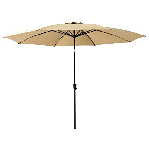 C-Hopetree 11ft Patio Outdoor Market Umbrella Parasol with Crank Winder, Fiberglass Rib Tips, Push Button Tilt, Beige by C-Hopetree