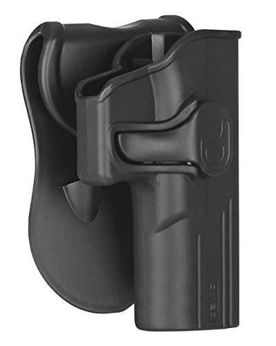Glock 19 Holster OWB, Outside The Waistband Concealed Carry Belt Holster Fit Glock 19 23 32 Gen 1 2 3 4 5, Glock 19X, Tactical Polymer Paddle Holster with 360° Adjustable-RH
