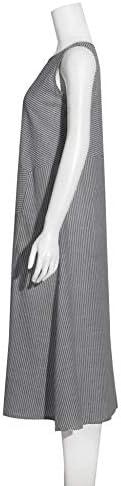 HZD Femmes Vêtements Stripe Lâche Robe sans Manches Dames De Mode Casual O Cou Mince Soirée De Soirée Maxi Dress,BK,S