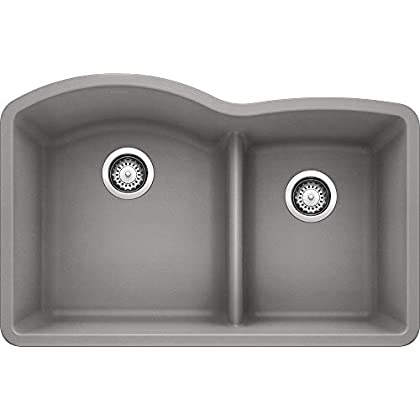 Image of Home Improvements BLANCO 441592 DIAMOND SILGRANIT Double Bowl Undermount Kitchen Sink with Low Divide, Metallic Gray