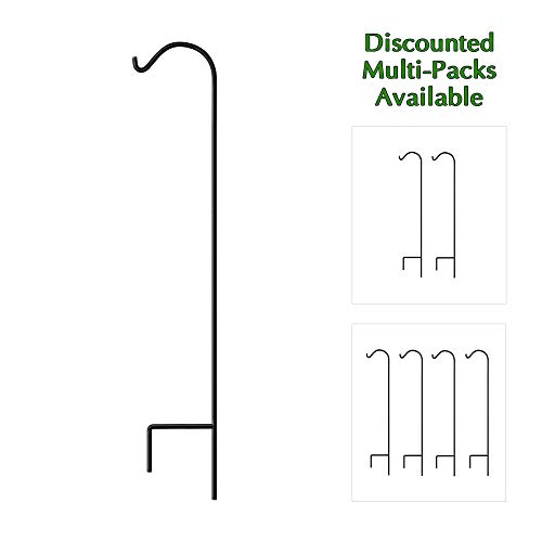 (Gray Bunny Shepherd Hook, 65 inch Black 1/2 Inch Thick, Solid (Non-Hollow) Heavy Duty Rust Resistant Premium Metal Hook Hangers for Weddings, Hanging Plant Baskets Solar Lights Lanterns Bird Feeders )