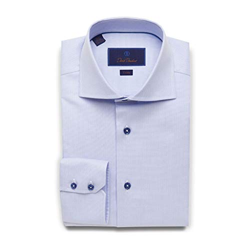 (David Donahue Mens Trim Fit Long Sleeve Micro Textured Dobby Weave Dress Shirt, Sky Blue, 16