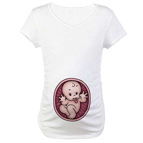 TIFENNY Summer Maternity Tops Tee Cute Baby Print O-Neck Short Sleeve T-Shirt Pregnant Loose Top Blouse Shirts White