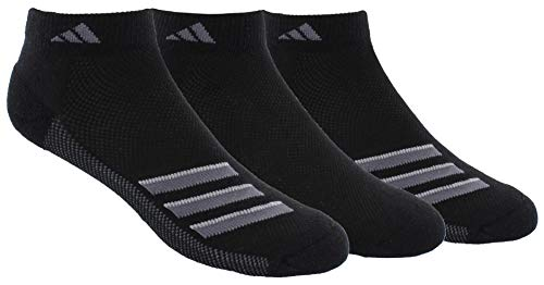 adidas Mens Superlite Stripe Low Cut Socks (3-Pair), Black/Onix/Light Onix, Large, (Shoe Size 6-12)