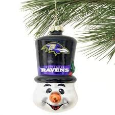 Denver Broncos Top Hat Snowman Blown Glass Ornament - Baltimore Ravens Blown Glass Ornament