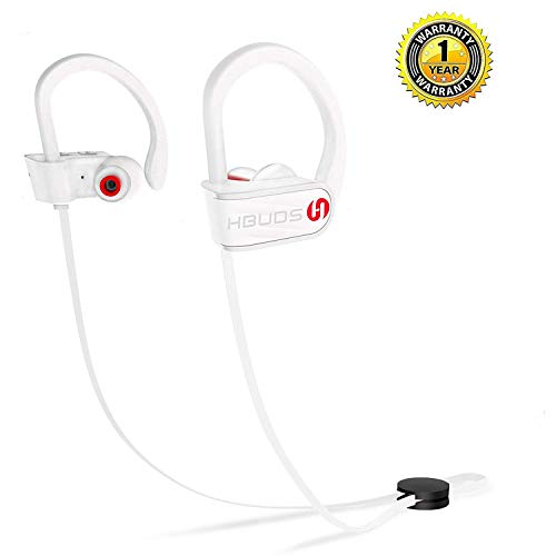 Bluetooth Headphones,HBUDS Waterproof IPX7 Wireless Sports Earbuds,Deep Bass HiFi Stereo In-Ear Earphones Built-in Mic, 8-9 Hrs Playtime Noise Canceling Headsets White(Memory Ear Tips & Fast Pairing)