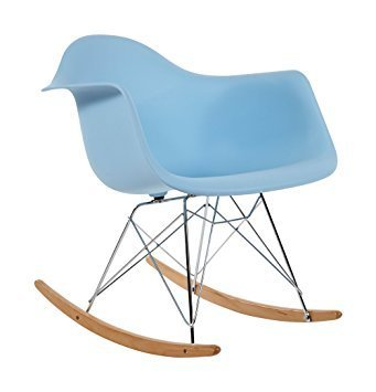 PAJ Interiors by HCD Eames Style Blue Molded Modern Plastic Armchair-Rocking Mid Century Style