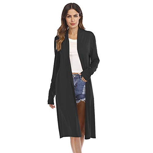 Donna Patchwork Nero Cardigan Giacca Invernale Manica Casual Aperto Cappotto MEIbax Bambina Frontale Felpe Aperto Lunga RXq5wTn