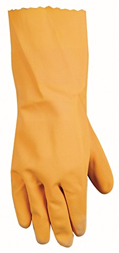 Latex Gauntlets - Wells Lamont Latex Coated Work Gloves with Gauntlet Cuff and Flocked Lining, Large (173L)