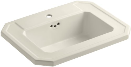 - KOHLER K-2325-1-47 Kathryn Self-Rimming Bathroom Sink with Single-Hole Faucet Drilling, Almond