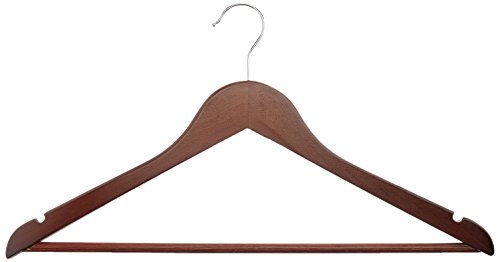 AmazonBasics Solid Wood Suit Hangers, Cherry  - 30 Pack