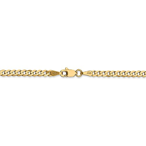 2.9 mm 14k Yellow Gold Flat Beveled Curb Chain Ankle Bracelet - 9 Inch