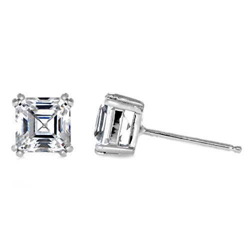 4mm 5mm 6mm Solitaire Stud Earring Double Prong Asscher Cut Cubic Zirconia 925 Sterling Silver Choose Size