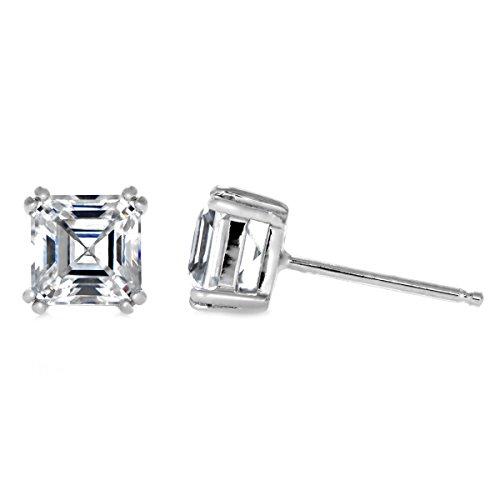 4mm 5mm 6mm Solitaire Stud Earring Double Prong Asscher Cut Cubic Zirconia 925 Sterling Silver Choose - Earrings Stud Asscher