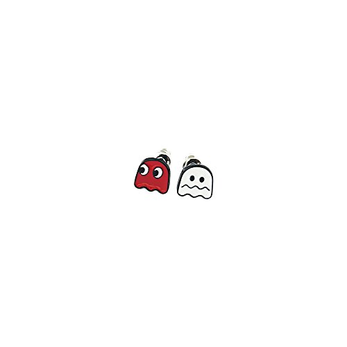 Pac-Man Red & White Ghosts Silver Tone Cartoon Comic Logo Post Earrings w/Gift Box by Superheroes Brand - Space Ghost Costumes