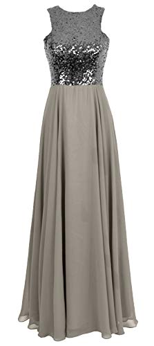 Evening Sleeveless Long Macloth silver Gray Dress Wedding Women Party Sequin Gown Bridesmaid mnNwy0vOP8