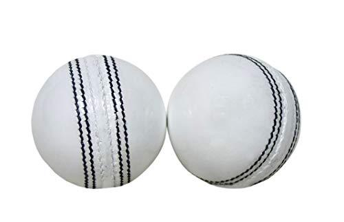 (KSZ TRADERS Cricket Leather Balls (Set of 2) A Grade Handstitched White)