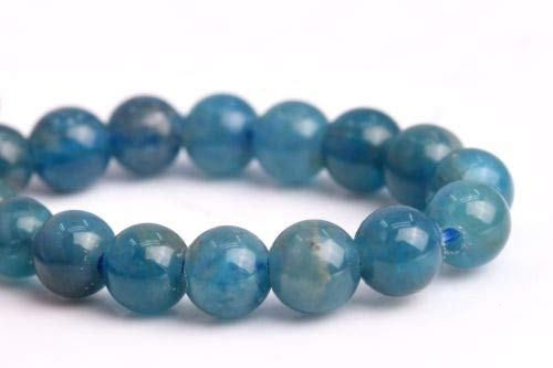 3-4mm Genuine Natural Blue Apatite Grade Round Gemstone Loose Beads 7.5'' Crafting Key Chain Bracelet Necklace Jewelry Accessories Pendants ()