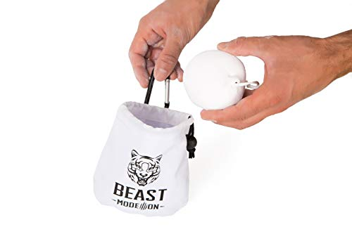 BEAST MODE ON Chalk Ball | White Gym Chalk| 100% Magnesium Carbonate | Double-Layered Drawstring Bag for Gymnastics Climbing Crossfit Powerlifting | Refillable Reusable Bag | Handy Clip | 2.6 oz 75 g