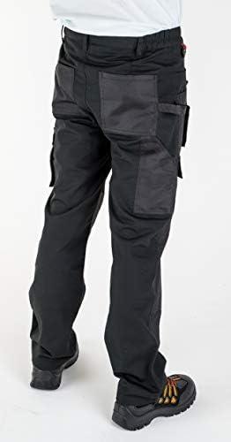 Uomini lavorano Pantaloni Cargo Nero Pro Heavy Duty più tasche W:36 L:29