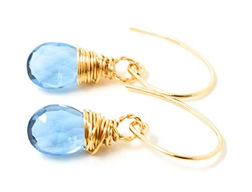 Light Blue Quartz gemstone earrings 14K Gold Filled, 10 mm stone