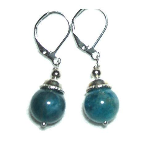 BLUE APATITE Earrings GENUINE SEMI PRECIOUS GEMSTONE Metaphysical CLARITY PSYCHIC PERCEPTION SELF EXPRESSION Silver Plt