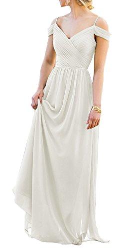 Off Prom Amore White Evening Gown Elegant Dress Shoulder Bridal Women Bridesmaid Chiffon Long X66BRwpq