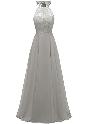 Women's Halter Lace Bodice Bridesmaid Dress Floor Length A-line Evening Party Dress Grey,18W ()