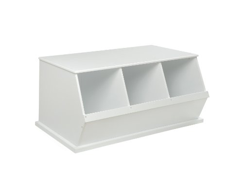 [Badger Basket Three Bin Storage Cubby - White] (Badger White Liner)