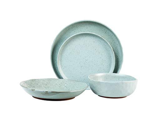 Sango Kaya 16-Piece Ceramic Dinnerware Set with Round Plates and Bowls, Blue