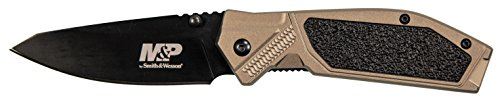 Smith & Wesson M&P M2.0 8.07in S.S. Ultra-Glide Folding Knife with 3.5in Drop Point Blade and Nylon FDE Handle for Outdoor Tactical Survival and Everyday Carry