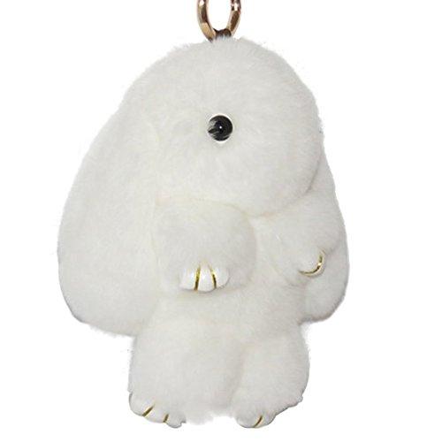 CHMING Bunny Keychain Soft Cute Rex Rabbit Fur Keychain Car Handbag Keyring (Best Rabbits For Fur)