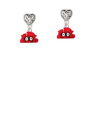 Resin Red Crab - Celtic Heart Earrings ()