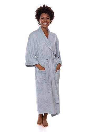 Women's Luxury Terry Cloth Bathrobe - Bamboo Viscose Robe by Texere (Ecovaganza, Blue Fog, Small/Medium) Holiday Spa Gift for Women WB0101-BFG-SM