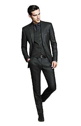 Men\'s Black Groom Tuxedos Business Best Man Slim Fit Formal Wedding ...